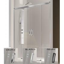 Mampara de ducha frontal GLASÉ GS100 de Kassandra. Cromo/Blanco/Negro
