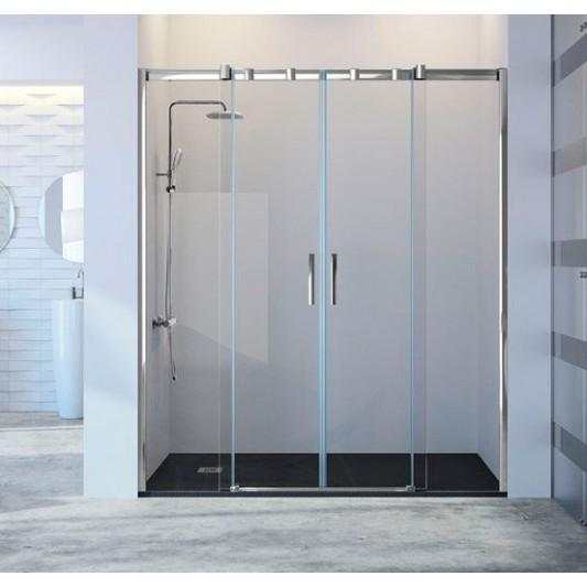 Mampara de ducha frontal TRIANA TN100 de Kassandra. Frente dos fijos más dos puertas correderas