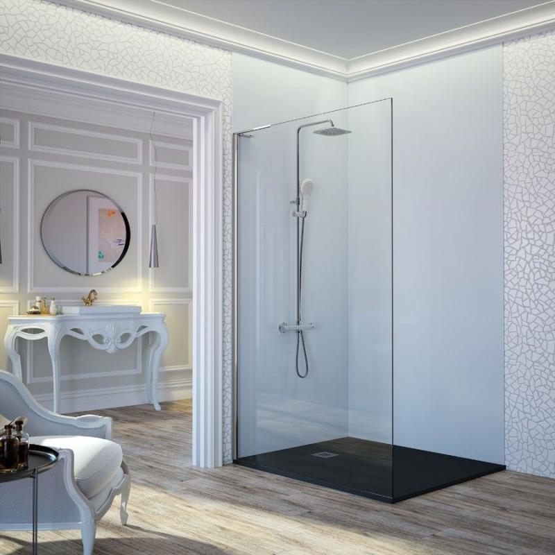 Mampara de ducha hoja fija fresh fr703 de kassandra for Apliques para ducha