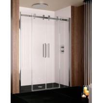 Mampara de ducha frontal LIBERTY LI100 de Kassandra. Frente dos fijos más dos puertas correderas