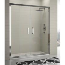 Mampara de ducha frontal 300 TR100 de Kassandra. Frente dos fijos más dos puertas correderas