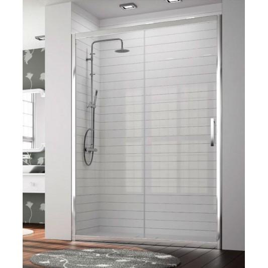 Mampara de ducha frontal 300 TR102 de Kassandra. Frente fijo más puerta corredera