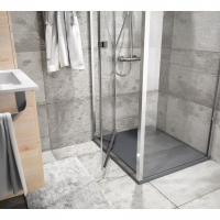 Mampara angular de ducha batiente HABITAT Salgar. Plegable sobre eje pivotante más fijo lateral.