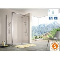 Mampara de ducha frontal 400 CU602 de Kassandra. Frente fijo más puerta corredera y fijo lateral opcional