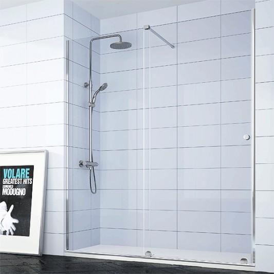 Mampara de ducha frontal VOLARE de Kassandra. Frente fijo más puerta corredera