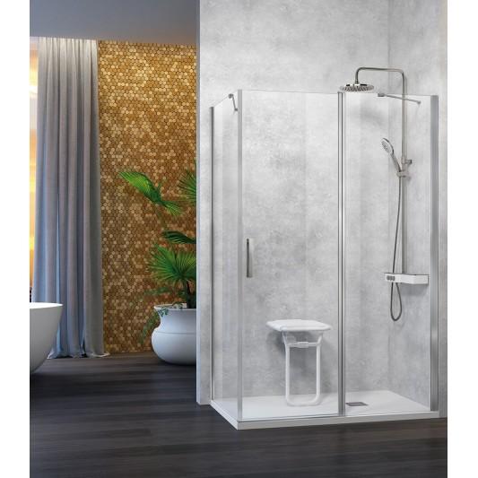 Mampara de ducha Nardi NA508 de Kassandra con puerta abatible y lateral fijo
