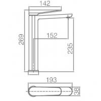 Grifo lavabo caño alto Dinamarca BDR031-3CR